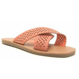 Qupid Kappi XBand Coral Suede Faux Diamond Sandals